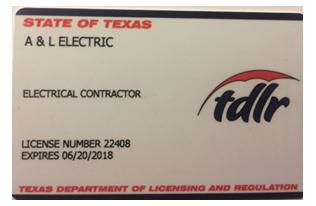 A & L Electric Contractor License