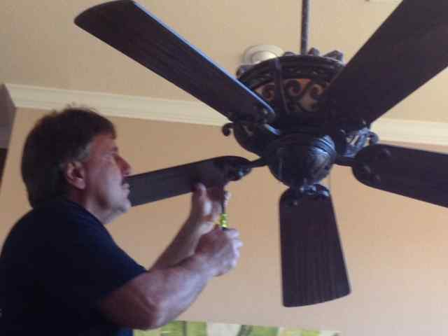 Allen Luikens On Ladder Balancing Home Ceiling Fan